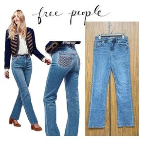 NEW Free People Halpin Bootcut Jeans Woven Pocket